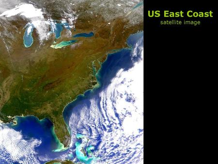US East Coast satellite image. Biological Productivity in the Ocean.