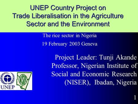 UNEP Country Project on Trade Liberalisation in the Agriculture Sector and the Environment Project Leader: Tunji Akande Professor, Nigerian Institute.