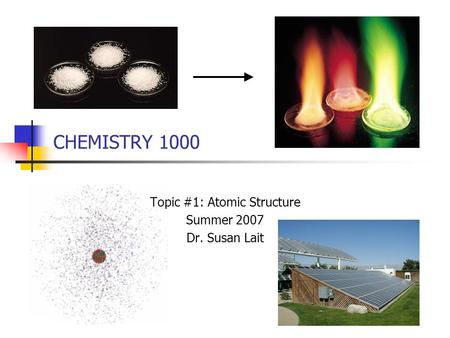CHEMISTRY 1000 Topic #1: Atomic Structure Summer 2007 Dr. Susan Lait.