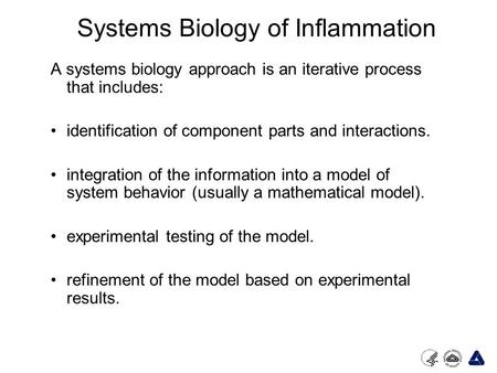 Systems Biology of Inflammation A systems biology approach is an iterative process that includes: identification of component parts and interactions. integration.