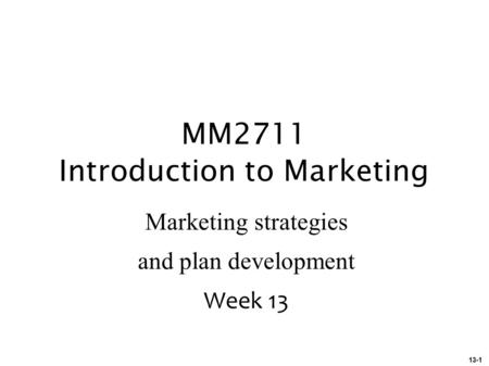 MM2711 Introduction to Marketing