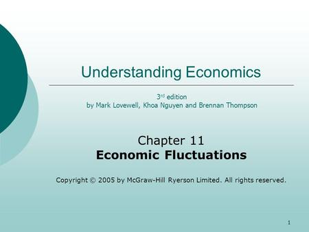 1 Understanding Economics Chapter 11 Economic Fluctuations Copyright © 2005 by McGraw-Hill Ryerson Limited. All rights reserved. 3 rd edition by Mark Lovewell,