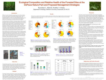 Ecological Composition and Relative Health of the Forested Sites at the DePauw Nature Park and Proposed Management Strategies Figure 6. Composition and.