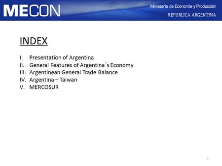 INDEX Presentation of Argentina