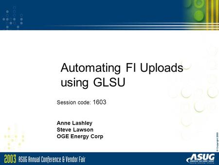Automating FI Uploads using GLSU