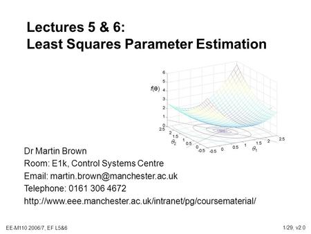 Lectures 5 & 6: Least Squares Parameter Estimation