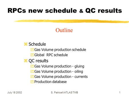 July 18 2002S. Patricelli ATLAS TMB1 RPCs new schedule & QC results zSchedule yGas Volume production schedule yGlobal RPC schedule zQC results yGas Volume.