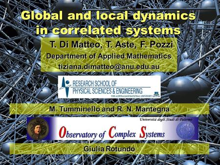 Global and local dynamics in correlated systems T. Di Matteo, T. Aste, F. Pozzi T. Di Matteo, T. Aste, F. Pozzi Department of Applied Mathematics
