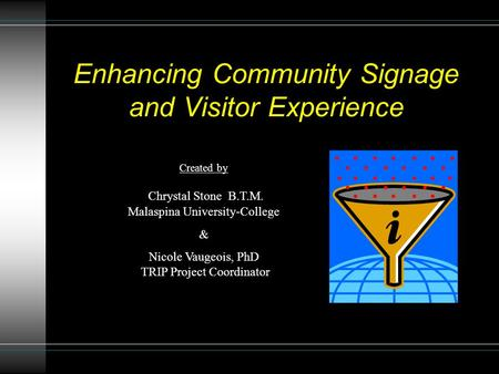 Enhancing Community Signage and Visitor Experience Created by Chrystal Stone B.T.M. Malaspina University-College & Nicole Vaugeois, PhD TRIP Project Coordinator.