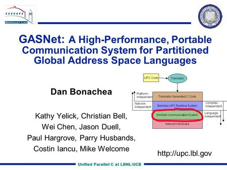 Unified Parallel C at LBNL/UCB GASNet: A High-Performance, Portable Communication System for Partitioned Global Address Space Languages Dan Bonachea Kathy.