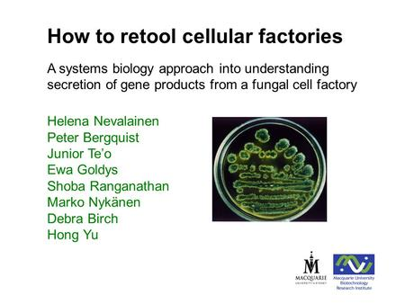 Helena Nevalainen Peter Bergquist Junior Te'o Ewa Goldys Shoba Ranganathan Marko Nykänen Debra Birch Hong Yu How to retool cellular factories A systems.