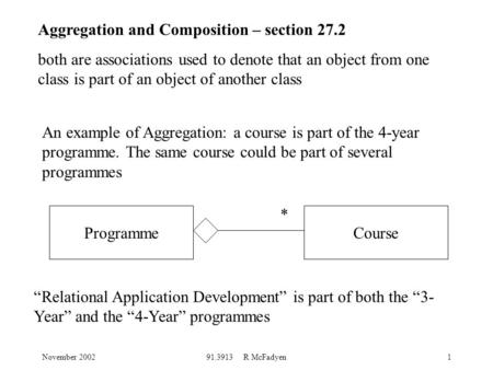 November 200291.3913 R McFadyen1 Aggregation and Composition – section 27.2 both are associations used to denote that an object from one class is part.