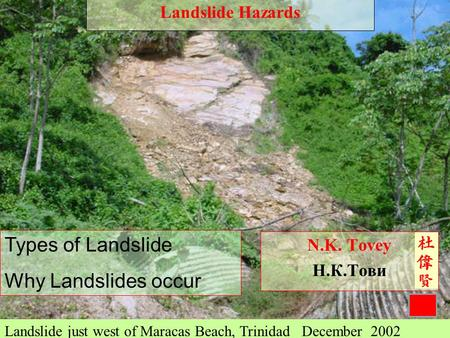 1 N.K. Tovey Н.К.Тови Landslide just west of Maracas Beach, Trinidad December 2002 Types of Landslide Why Landslides occur Landslide Hazards.