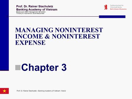 Chapter 3 MANAGING NONINTEREST INCOME & NONINTEREST EXPENSE
