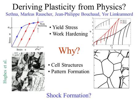 Deriving Plasticity from Physics? Sethna, Markus Rauscher, Jean-Philippe Bouchaud, Yor Limkumnerd Yield Stress Work Hardening Cell Structures Pattern Formation.