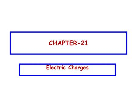 CHAPTER-21 Electric Charges. CHAPTER-21 Electric Charges Topics to be covered:  Types of electric charge  Forces among two charges (Coulomb's law) 