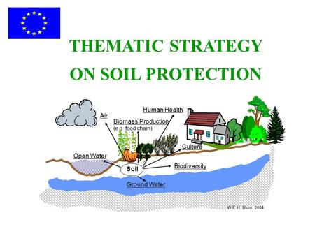 THEMATIC STRATEGY ON SOIL PROTECTION Soil Ground Water Biodiversity Open Water Air Biomass Production (e.g. food chain) Human Health W.E.H. Blum, 2004.