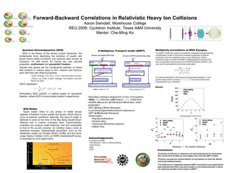 Forward-Backward Correlations in Relativistic Heavy Ion Collisions Aaron Swindell, Morehouse College REU 2006: Cyclotron Institute, Texas A&M University.