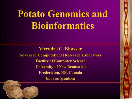 Potato Genomics and Bioinformatics