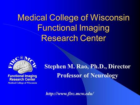 Medical College of Wisconsin Functional Imaging Research Center Stephen M. Rao, Ph.D., Director Professor of Neurology