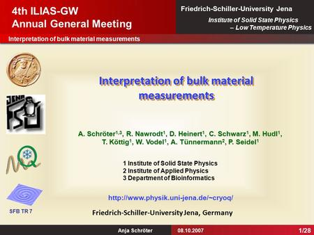 Interpretation of bulk material measurements Anja Schröter08.10.2007 Institute of Solid State Physics – Low Temperature Physics Friedrich-Schiller-University.