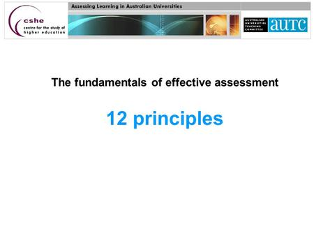 The fundamentals of effective assessment 12 principles