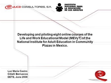 Developing and piloting eight online courses of the Life and Work Educational Model (MEVyT) of the National Institute for Adult Education in Community.