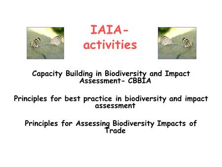 Capacity Building in Biodiversity and Impact Assessment- CBBIA Principles for best practice in biodiversity and impact assessment Principles for Assessing.