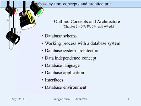 Database system concepts and architecture Sept. 2012Yangjun Chen ACS-39021 Outline: Concepts and Architecture (Chapter 2 – 3 rd, 4 th, 5 th, and 6 th ed.)