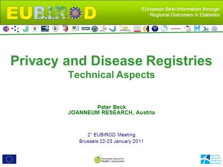EUropean Best Information through Regional Outcomes in Diabetes Privacy and Disease Registries Technical Aspects Peter Beck JOANNEUM RESEARCH, Austria.
