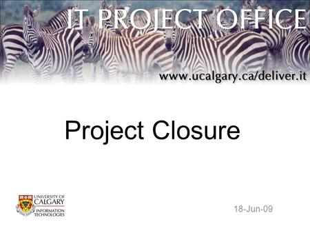 Project Closure 18-Jun-09. It's All Over but the Partyin' Not quite. You need to perform certain steps to formally close out your project. 1.Do a Lessons.