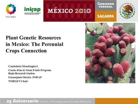 <strong>Plant</strong> Genetic Resources in Mexico: The Perennial Crops Connection Candelario Mondragón J. Cactus Pear & Stone Fruits Program Bajío Research Station Guanajuato.
