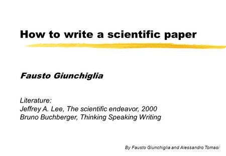 how to write experimental literature