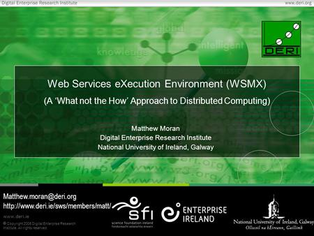 Copyright 2006 Digital Enterprise Research Institute. All rights reserved. www.deri.ie Web Services eXecution Environment (WSMX) (A 'What not the How'