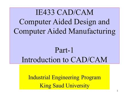Computer Aided Design (CAD) subject at university