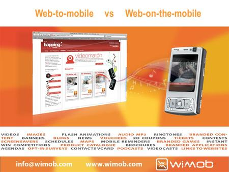 "Web-to-mobile vs Web-on-the-mobile. Index 1.Portable multimedia content 2.From ""web on the mobile"" to ""web to mobile"" 3.Application examples 4.Conclusions."