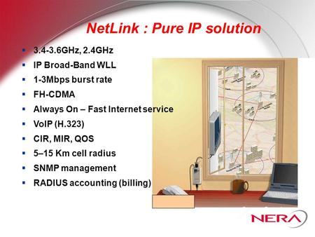 NetLink : Pure IP solution  3.4-3.6GHz, 2.4GHz  IP Broad-Band WLL  1-3Mbps burst rate  FH-CDMA  Always On – Fast Internet service  VoIP (H.323) 