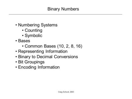Craig Schock, 2003 Binary Numbers Numbering Systems Counting Symbolic Bases Common Bases (10, 2, 8, 16) Representing Information Binary to Decimal Conversions.