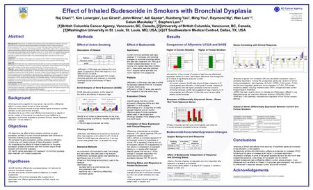 Effect of Inhaled Budesonide in Smokers with Bronchial Dysplasia BC Cancer Research Centre 675 West 10 th Avenue Vancouver BC, V5Z 1L3 ph:604-675-8000.