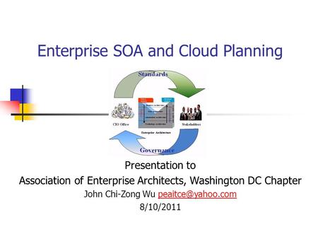 Enterprise SOA and Cloud Planning Presentation to Association of Enterprise Architects, Washington DC Chapter John Chi-Zong Wu