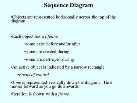 Sequence Diagram Objects are represented horizontally across the top of the diagram Each object has a lifeline some exist before and/or after some are.