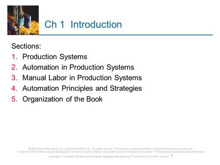 Ch 1 Introduction Sections: Production Systems