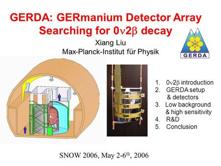 GERDA: GERmanium Detector Array Searching for 0 2  decay Xiang Liu Max-Planck-Institut für Physik 1.0 2  introduction 2.GERDA setup & detectors 3. Low.