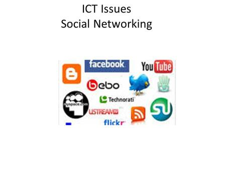 ICT Issues Social Networking. Social Networking Social networking: the interaction between a group of people who have a common interest, eg. music. Popular.