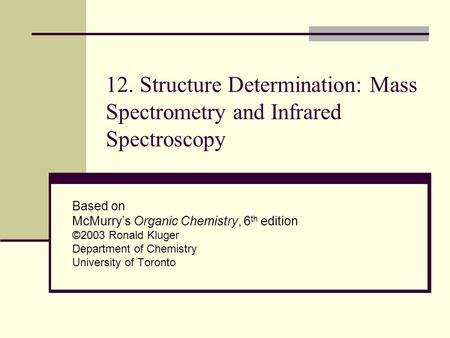 12. Structure Determination: Mass Spectrometry and Infrared Spectroscopy Based on McMurry's Organic Chemistry, 6 th edition ©2003 Ronald Kluger Department.