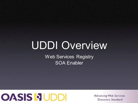 UDDI Overview Web Services Registry SOA Enabler. What Is UDDI? Universal Description, Discovery, and Integration Protocols for web services registry Public.