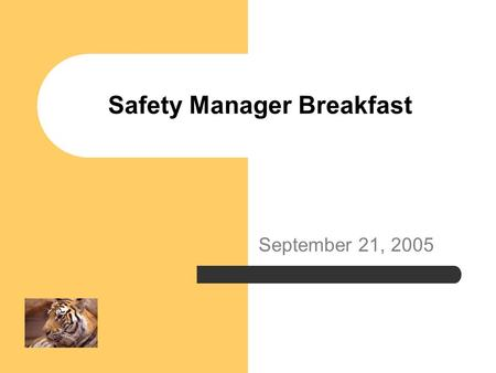 Safety Manager Breakfast September 21, 2005. Agenda Environmental Audit Building Emergency Planning Fire Safety and Security Plans Emergency Generators.