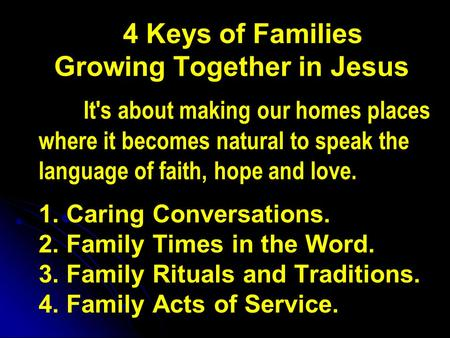 4 Keys of Families Growing Together in Jesus It's about making our homes places where it becomes natural to speak the language of faith, hope and love.