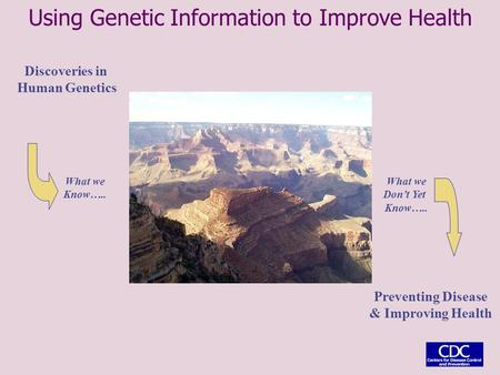 Discoveries in Human Genetics Preventing Disease & Improving Health What we Know….. What we Don't Yet Know….. Using Genetic Information to Improve Health.
