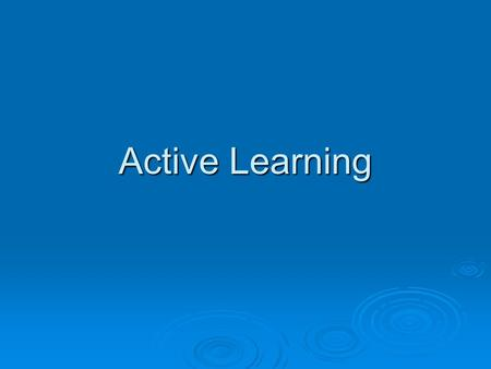 Active Learning. 2 Learning from Examples  Passive learning A random set of labeled examples A random set of labeled examples.